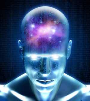 Cyber man with circuits and space inside his mind