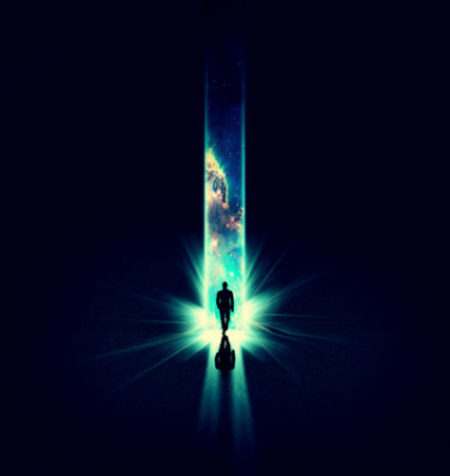 Illustration of a man walking into a beam of light overlaid with an image of the cosmos